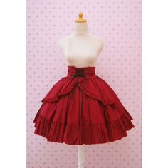Custom in Your Color and Fabric Red Maroon High Waist Skirt Gothic... ($100) ❤ liked on Polyvore featuring skirts, lolita, bottoms, brown, women's clothing, flounce skirt, goth skirt, frilly skirt, red knee length skirt and brown skirt