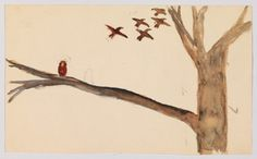 Edward Hopper (1882-1967) Study of a Tree Branch with Birds 1895-99 Watercolor and graphite pencil on paper Sheet: 4 13/16 × 7 15/16 in. (12.2 × 20.2 cm)