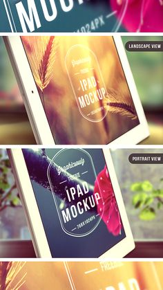 A stylish iPad photo mockup with smart object replaceable screens. Landscape and portrait views included along with two gorgeous backgrounds. Mobile Mockup, Ipad Photo, App Design, Design Ideas, Mockup Templates, Portrait, Designers, Apps, Photoshop
