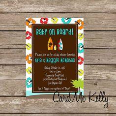 Printable 3 designs, Surfboard, Baby On Board, Tropical, Hawaiian Baby Shower, Birthday Party, Invitaion, Printable, Digital File