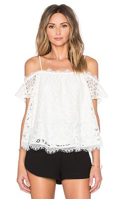 Greylin Cassis Lace Off Shoulder Top in Ivory | REVOLVE