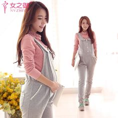 (27.12$)  Buy here - http://aiz9l.worlditems.win/all/product.php?id=32760508674 - 2016 New Pregnant Cartoon Suspender Trousers gray Colors Spring & Autumn Maternity Overalls M-XXL Women's Pregnant Pants