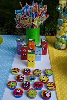 _FRV3009 1st Birthday Boy Themes, Boys First Birthday Party Ideas, Boy First Birthday, Monster Inc Party, Little Monster Birthday, Monster Birthday Parties, Fiesta Monster University, Alien Party, Baby Party
