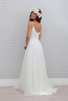A line Spaghetti Straps Informal Wedding Dress.The professional tailors from wedding dress manufacturer custom this simple wedding dress with any sizes and many other colors.Contact us to custom summer wedding dress online. Wedding Robe, Bodice Wedding Dress, Mod Wedding, Wedding Attire, Trendy Wedding, Summer Wedding, Wedding Gowns, Dream Wedding, Wedding Ideas