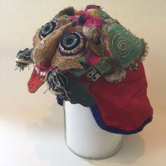 Lunar New Year Chinese Textile Art Early Republican Late Qing Antique Embroidered Silk New Baby Gift Child/'s TIGER Wind Hat