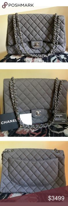 Chanel quilted jersey Maxi Classic Single Flap bag This mocha jersey  quilted bag is in pristine 4872d976be53f