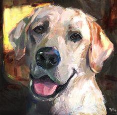 "Daily Paintworks - ""Biscuit - labrador, white labrador, a dog"" - Original Fine Art for Sale - © adam deda Expressionist Painting, Animal Art, Animal Sculptures, Cat Art, Original Fine Art, Colorful Dog Paintings, Dog Portraits Painting, Art, Animal Paintings"
