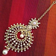 Beautiful Pearl Polki Mang Tikka Jhoomar Indian Ethnic Copper Hair Jewelry AB52 | eBay