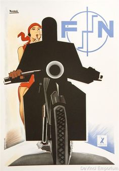 FN Motorcycle Poster Fine Art Lithograph Hand Pulled S2 Art Marcello Nizzoli #ArtDeco