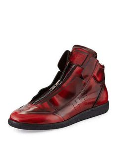 New Future Burnished Leather Zip High-Top Sneaker by Maison Margiela at Neiman Marcus