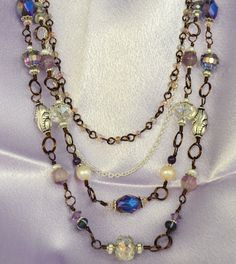 Morning Glory Pearl and Crystal Necklace by LindyLeeTreasures on Etsy https://www.etsy.com/listing/186740846/morning-glory-pearl-and-crystal-necklace