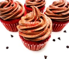 Red Velvet Chocolate Chip Cupcakes with Chocolate Cream Cheese Frosting