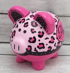 Hot pink and black Cheetah print hand painted by Alphadorable Cute Little Things, Money Box, Hand Painted Ceramics, Ceramic Painting, Animal Paintings, Custom Items, Cheetah Print, New Baby Products, Personalized Gifts