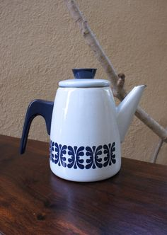 Vintage Light and Navy Blue Patterned Cathrineholm Coffee Serving Pot, enamelware
