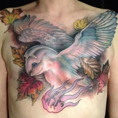 Barn Owl in Autumn, on Breast Cancer Survivor. Very powerful chest tattoo for post mastectomy scar coverage. [p-ink.org]