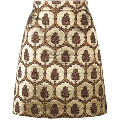 Gucci jacquard mini skirt (15.852.835 IDR) ❤ liked on Polyvore featuring skirts, mini skirts, юбки, brown, metallic mini skirt, floral print a-line skirt, gucci, metallic skirt and brown skirt