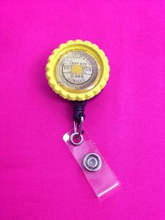 Yellow Thread Spool Top Retractable Badge Holder by GraysonsHome on Etsy