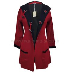 Μακριά ζακέτα πλεκτή. Έχει κουκούλα, τσέπες και κουμπώνει με κούμπωμα μοντγκομερι. Μήκος 82εκ. μήκος μανικιών 56εκ.88%viscose-12% elite.Ελληνική ραφή. Jumpers, Casual Looks, Knitwear, Blazer, Jackets, Shopping, Women, Fashion, Down Jackets