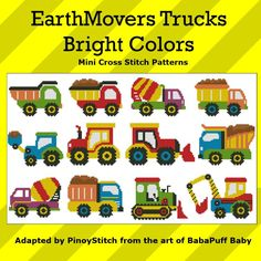 Mini Cross Stitch Pattern: EarthMovers Trucks Bright Colors Design Source: BabaPuff Baby DMC Floss Colors: 10
