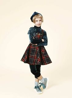 Be-jewelled plaid fall 2014 dress for girlswear from Mimisol.....love plaids!!!