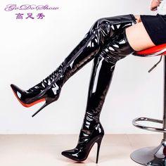Высоком сексуальные ультра высокой пятки 16 см стилет лакированной кожи тонкий тонкий кончик стрейч из ночных клубов более-колено высокого цилиндра сапоги-Таобао