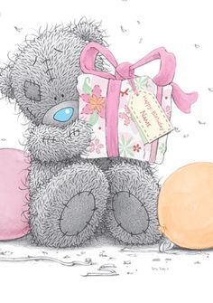 Tatty Teddy with gift Tatty Teddy, Teddy Images, Cute Images, Birthday Greetings, Birthday Wishes, Birthday Cards, Bear Pictures, Cute Pictures, Das Abc