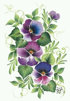 flower drawings and paintings - Bing images Folk Art Flowers, Vintage Flowers, Fabric Painting, Painting & Drawing, Watercolor Flowers, Watercolor Paintings, Inspiration Artistique, Creation Deco, One Stroke Painting