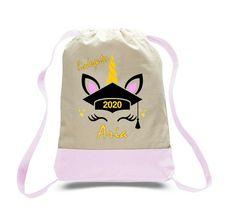 UNICORN Kindergarten grad tote bag with name and year Custom Made T Shirts, Custom Tees, Graduation Shirts, Birthday Shirts, Best Commercials, School Shirts, Drawstring Backpack, Unicorn, Kindergarten