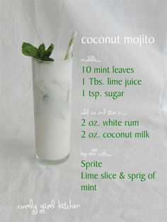have some coconut milk, mint sprigs and lime at table... and this recipe so people can add the coconut milk