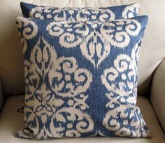 TWO Ikat Lapis  Pillow Covers 20 inches. $80.00, via Etsy.