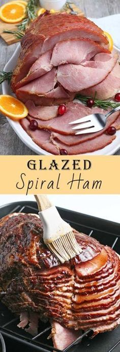 This recipe for with a sweet glaze uses a fully-cooked ham and is a great centerpiece for your Christmas, Easter, or Thanksgiving dinner table! The flavor and texture will be a show-stopper! Meat Recipes, Gourmet Recipes, Dinner Recipes, Healthy Recipes, Drink Recipes, Make Ahead Meals, Healthy Meals For Kids, Easy Meals, Spiral Ham