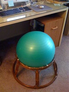 make your own exercise ball chair. it's perfect for your office