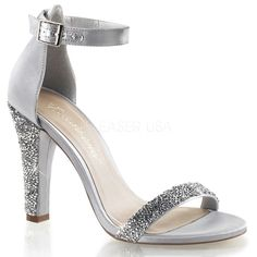FABULICIOUS CLEARLY-436 Silver Satin Ankle Strap Sandals