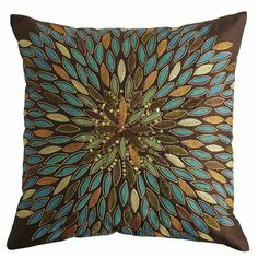 Love the colors in this pillow...would look nice in my bedroom!!!              Metallic Leaves Pillow