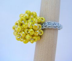 Yellow Seed Bead Crochet Cluster Ring by RetroRingsByTammy on Etsy