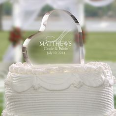 Personalized Glass Cake Toppers | your wedding cake with our Wedding Monogram Personalized Cake Topper ...