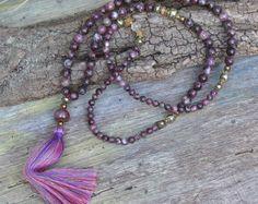 Beautiful Jade Mala necklace van look4treasures op Etsy