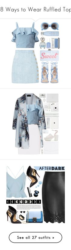 """18 Ways to Wear Ruffled Tops"" by polyvore-editorial ❤ liked on Polyvore featuring ruffledtops, Balmain, Miss Selfridge, Edie Parker, Gentle Monster, Marc Jacobs, Clinique, Drybar, marcjacobs and balmain"