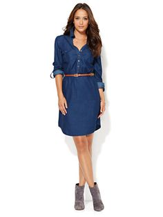 Shop Denim Shirtdress - Hidden Blue . Find your perfect size online at the best price at New York & Company.