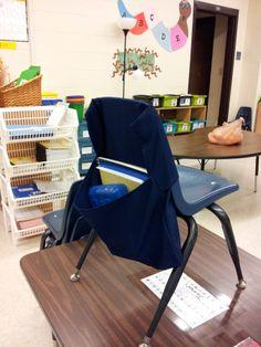 DIY Classroom Chair Pockets and Seat Sacks School Chair Covers, Classroom Chair Covers, School Chair Pockets, Chair Back Covers, School Chairs, Chair Backs, Kindergarten Classroom, Classroom Themes, Classroom Organization
