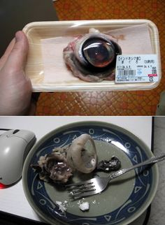 Tuna Eyeball, eaten in Japan and China 15 Strangest Foods (strange foods, bizarre foods) - ODDEE Gross Food, Weird Food, Jello Recipes, Snack Recipes, Japanese Snacks, Exotic Food, People Eating, World Recipes, Food Humor
