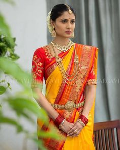 Bhargavi Kunam - Defining Elegance With Her Kanjeevaram Silk Saree Collection Bridal Blouse Designs, Saree Blouse Designs, South Indian Bride, Indian Bridal, Indian Attire, Indian Outfits, Indian Wear, Mode Bollywood, Bollywood Actors