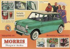 One of the most tantalizing cars at this year's Paris Auto Show will be the MINI Superleggera Vision. Vintage Advertisements, Vintage Ads, Vintage Posters, Classic Mini, Classic Cars, Mini Morris, Morris Minor, Classic Motors, Car Posters