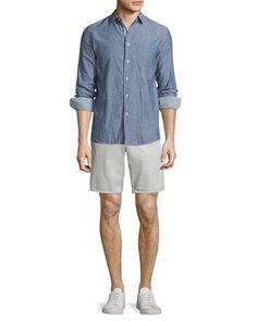 Beach+Tonal-Stripe+Sport+Shirt+&+Standard+Issue+Twill+Shorts+by+Rag+&+Bone+at+Neiman+Marcus.