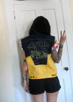 Upcycled Star Wars dip dyed studded denim vest by thethriftysith