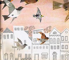 "Vintage Birds Art - Russian Soviet Print ""Bird City"" Mod 1960s Pastel Illustration - Birds and Buildings Cityscape"