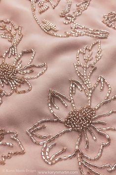 Delicate bead hand embroidery on dusty rose georgette fabric. Minimalist floral embroidery perfect for any occasion Delicate bead hand embroidery on dusty rose georgette fabric. Minimalist floral embroidery perfect for any occasion Zardozi Embroidery, Hand Embroidery Dress, Hand Embroidery Videos, Tambour Embroidery, Couture Embroidery, Pearl Embroidery, Embroidery Fabric, Embroidery With Beads, Simple Embroidery