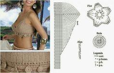 Fabulous Crochet a Little Black Crochet Dress Ideas. Georgeous Crochet a Little Black Crochet Dress Ideas. Motif Bikini Crochet, Crochet Bra, Crochet Bikini Pattern, Swimsuit Pattern, Crochet Woman, Crochet Clothes, Tops Tejidos A Crochet, Crochet Halter Tops, Crochet Lingerie