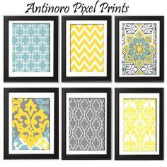 Yellow turquoise Grey Vintage / Modern by antinoropixelprints, $55.00