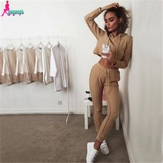 Gagaopt 2016 New Autumn Tracksuit Women Hoodies 2-Piece Set Khaki/Black (Hooded Sweatshirt+Long Pants) Leisure Suits Agasalho